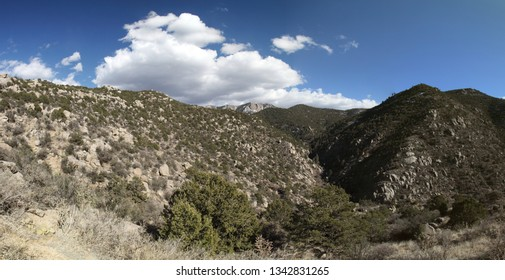 True wide panorama of Embudito Canyon, leading up into the Sandia Mountains of central New Mexico, viewed from the west, with white clouds in the bright blue New Mexico spring sky.
