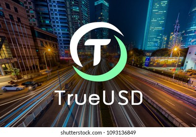 TrueUSD coin also called TUSD,  equal to  USD, Cryptocurrency