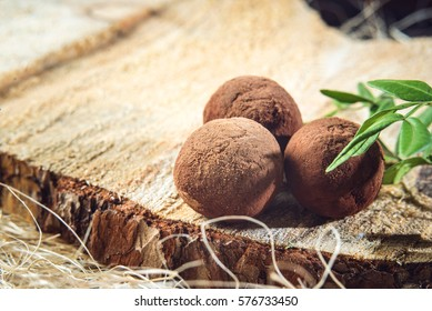truffle candy balls sprinkled with cocoa on wooden planks and with a green sprig, tasty treat in a rustic style