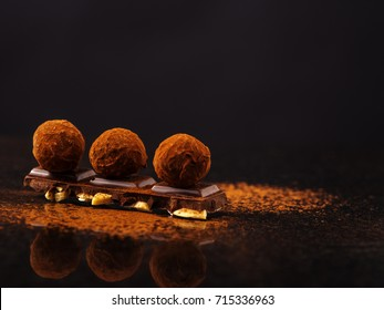 Truffle on a chocolate bar.