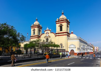 TRUJILLO, PERU, July 2018: Historic Church San Agusti­n in the Spanish colonial city, place of visit of national and foreign tourists