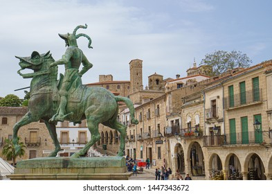 Trujillo, Spain. April 2019: Francisco Pizarro statue in the main square of Trujillo, Caceres. Pizarro was a Spanish conquistador who led the Spanish conquest of Peru
