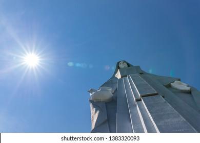 Trujillo, Venezuela - December 17, 2018: The Peace Virgin Monument (Monumento a la Virgen de la Paz), tallest statue in all of the Americas