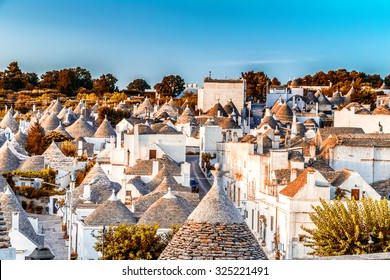 The Trulli of Alberobello in Apulia in Italy. These typical houses with dry stone walls and conical roofs are unique to the world and projecting this place outside of time and reality