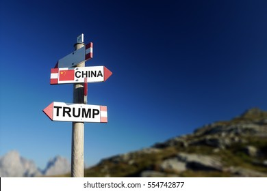 Trump and Chinese flag in two directions on road sign. Relationships and differences with Chinese society and politics