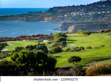 The Trump National Golf Course, in Rancho Palos Verdes along the Pacific coast of California, opened in 2006. Fairway and greens with lakes, sand traps are seen, ocean background with cliffs, bluffs.