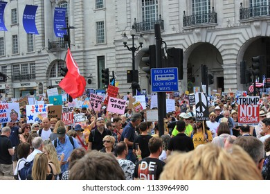 Trump Protest, London, July 13, 2018 : Donald Trump protest march placards Westminster, london, July 13, 2018 in London, UK