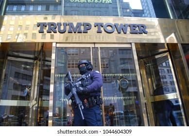 Trump Tower in New York City - March 10 2018 - President Donald Trump - Entrance Of Building With Security, Doorman, and Police