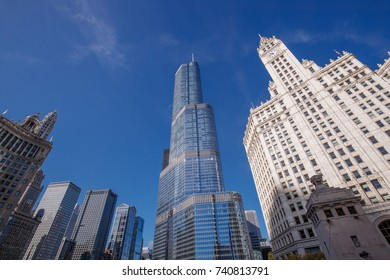 The Trump Tower, Wrigley Building and other buildings in the Chicago Skyline are seen along the Chicago River, October 19, 2017.
