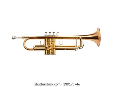 Trumpet isolated on a white