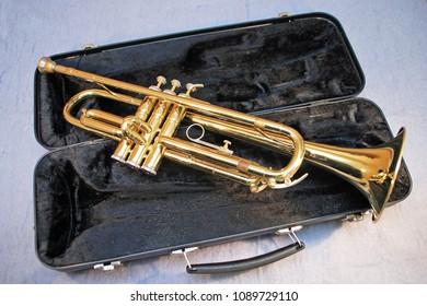 Trumpet on a black case open