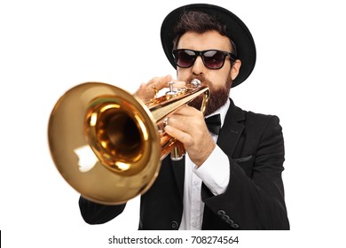 Trumpet player isolated on white background