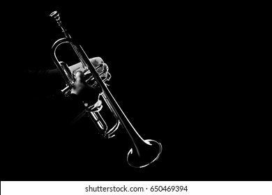 Trumpet player jazz instrument. Trumpeter playing horn music instrument.