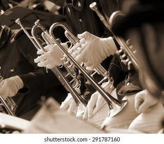 Trumpet players in the band during a performance in the auditorium