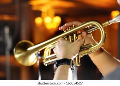 Trumpeter in a nightclub