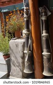 Trumpets used in Buddhist ceremonies, Liker Gompa Monastery, Ladakh, India