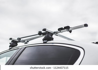 trunk on the roof of the car for attaching large loads. bicycle transportation, traveling by car
