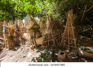 Trunyan Village, Bali, Indonesia - Jul 2012: An open air traditional Balinese ancient burial cemetery. Trunyan village is an isolated Bali Aga (original) community