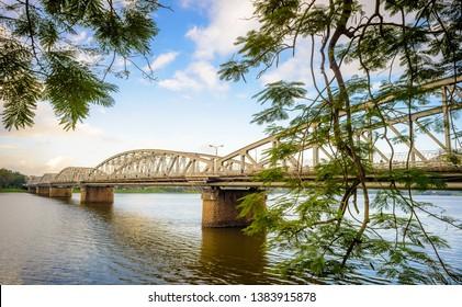 Truong Tien Bridge cross Perfume River in Hue ancient capital, Hue city, Vietnam