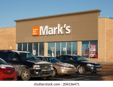 TRURO, CANADA - DECEMBER 11, 2013: Mark's retail outlet. Mark's Work Wearhouse is a  clothing retailer in Canada. Canadian Tire has owned Mark's since 2001.