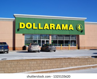 Truro, Canada - February 27, 2019: Dollarama Storefront. Dollarama is a Canadian retail chain, selling items four dollars and less with more than 1000 stores in Canada.