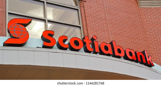 Truro, Canada - July 30, 2018: Scotiabank entrance sign. The Bank of Nova Scotia, or Scotiabank, is Canada's third largest bank in terms of market capitol and deposits.