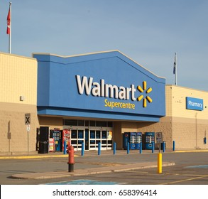 TRURO, CANADA - JUNE 12, 2017: Walmart storefront. Walmart is an American corporation with chains of department and warehouse stores. There are more than 11,000 stores in 27 countries.
