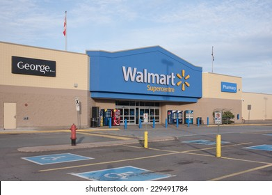 TRURO, CANADA - NOVEMBER 09, 2014: Walmart storefront. Walmart is an American corporation with chains of department and warehouse stores. Walmart has more than 11,000 stores in 27 countries.