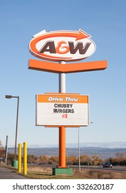 TRURO, CANADA - OCTOBER 28, 2015: A&W Drive Thru Sign. A&W Restaurants Inc. is a fast food chain started in California in 1923. Presently, A&W has locations in many parts of the world.