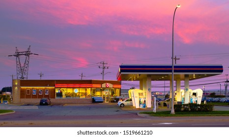 Truro, Canada - September 23, 2019: Irving gas station at daybreak. Irving Oil Ltd. is a Canadian energy producing and exporting company, including gasoline, oil, and natural gas.