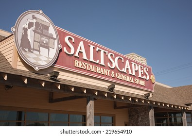 TRURO, CANADA - SEPTEMBER 25, 2014: Saltscapes restaurant sign. Saltscapes Restaurant and General Store is owned by Pacmill Restaurants G.P. Limited. It is now a seasonally operated business.