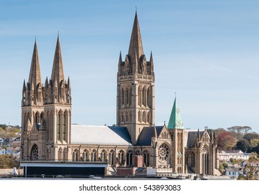 Truro cathedral skyline against a winter blue sky.  Truro, Cornwall, England, UK