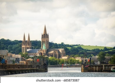 truro cathedral from the water in cornwall england uk .