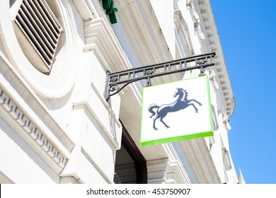 TRURO, CORNWALL, UK - JULY 17, 2016: Lloyds Bank Sign. Architectural detail of local branch of Lloyds Bank showing new branding on store front. Name banner. British high street. Editorial Use Only.