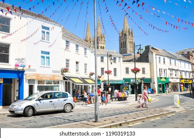 Truro, England - July 14, 2018: Commercial street in the town centre of Truro, Cornwall's county town, single city, and centre for administration, leisure and commerce.
