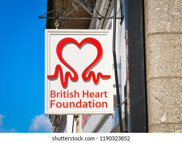 Truro, England - July 14, 2018: Close up of qBritish Heart Foundation shop sign in the town centre of Truro, England
