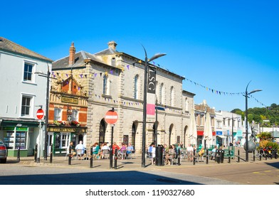 Truro, England - July 14, 2018: View of Truro town centre with medieval architecture and cobbled stones. Truro is Cornwall's county town, single city, and centre for administration and commerce.