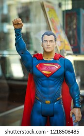 Truro, England - July 14, 2018: Detail of superman miniature in the window of a comics shop in Truro, Cornwall's county town, single city, and centre for administration, leisure and commerce.