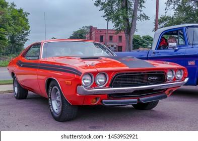 Truro, Nova Scotia, Canada - July 14, 2019 : Classic muscle car, 1972 Dodge Challenger R/T at Annual Blaikies Mopar Show & Shine.