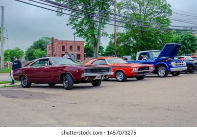 Truro, Nova Scotia, Canada - July 14, 2019 : 1968 Dodge Charger, 1972 Dodge Challenger R/T & 1969 Dodge D100 Adventurer at Annual Blaikies Mopar Show & Shine.