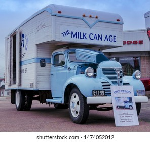 Truro, Nova Scotia, Canada - July 14, 2019 : 1947 Fargo 2 ton milk truck at  Annual Blaikies Mopar Show & Shine.
