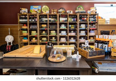 Truskavec, Ukraine - 10 JUNE 2018: Interior of the Cheese house. Wide variety of different cheese on the shelves. Truskavec, Ukraine.