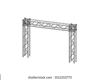 Truss construction. Isolated on white background. 3D rendering illustration. Dimetric projection.