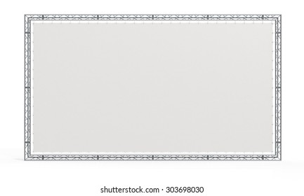 Truss stage. Blank billboard, banner in aluminum trusses frame construction trio. - 3D render image