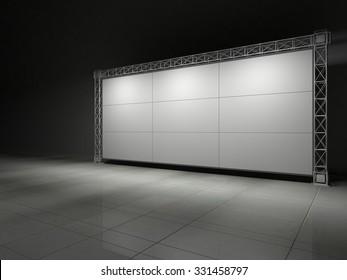 Truss stage on concrete floor B. 3D rendering