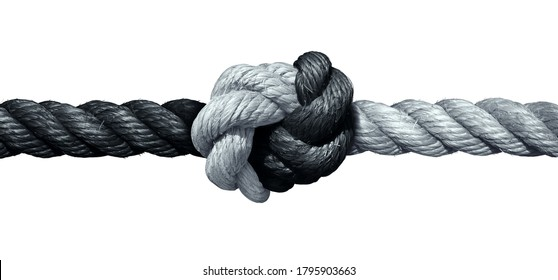 Trust concept and connected symbol as two different ropes tied and linked together as an unbreakable chain as a faith metaphor for dependence and reliance on a trusted partner as support and strength.