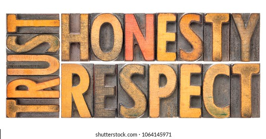 trust honesty, respect - isolated word abstract in vintage letterpress wood type blocks tained by color inks