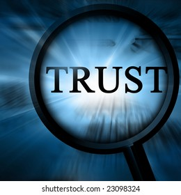 trust on a blue background with a magnifier