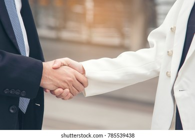 Trust Promise Concept. Honest Partner with Professional Team make Law Business Agreement after Complete Deal. Ethics Business people handshake, touch and Respect customer to trust partnership.