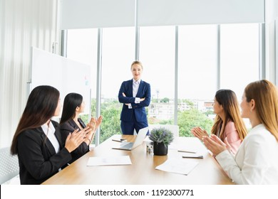 Trust in team concept. Business people working or meeting and discussing together in Modern Board conference room. Start up Business plan  Meeting Social Communication Connection Teamwork Concept
